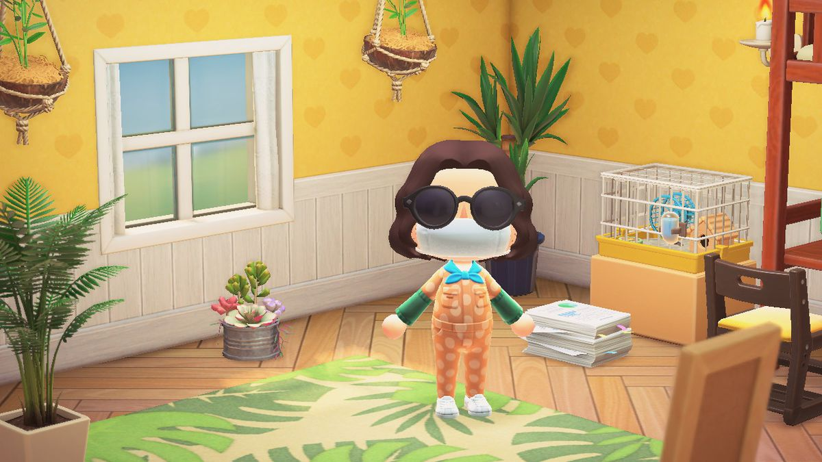 Animal Crossing human wearing a mask and jumpsuit standing in a lovely room full of plants (with a plant patterned rug, too)