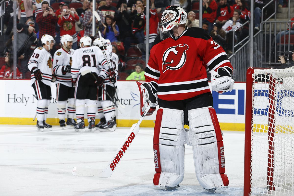 Three out of four times in the third period, the Toews line celebrated a goal against Martin Brodeur.