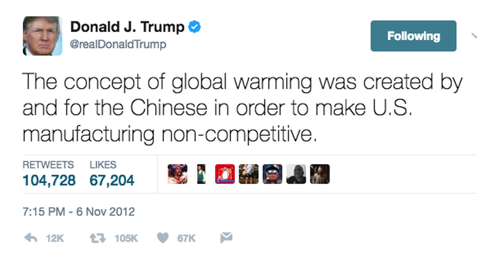 Image result for trump tweet heavy snow is not global warming
