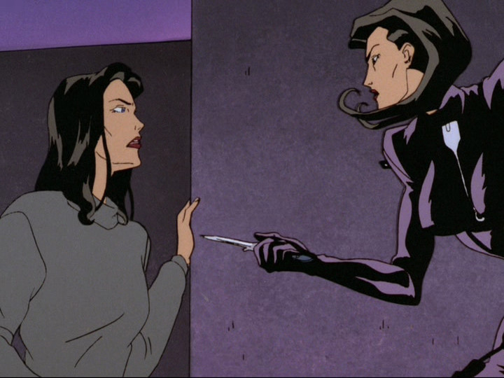 """Aeon Flux confronting herself in """"A Last Time For Everything"""""""