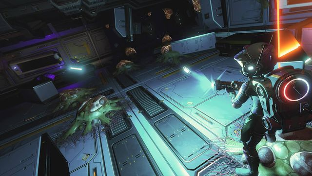 A player fighting off small infecting enemies in No Man's Sky Desolation update