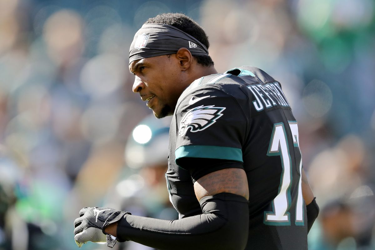 Alshon Jeffery of the Philadelphia Eagles reacts during warm ups before the game against the Chicago Bears at Lincoln Financial Field on November 03, 2019 in Philadelphia, Pennsylvania.