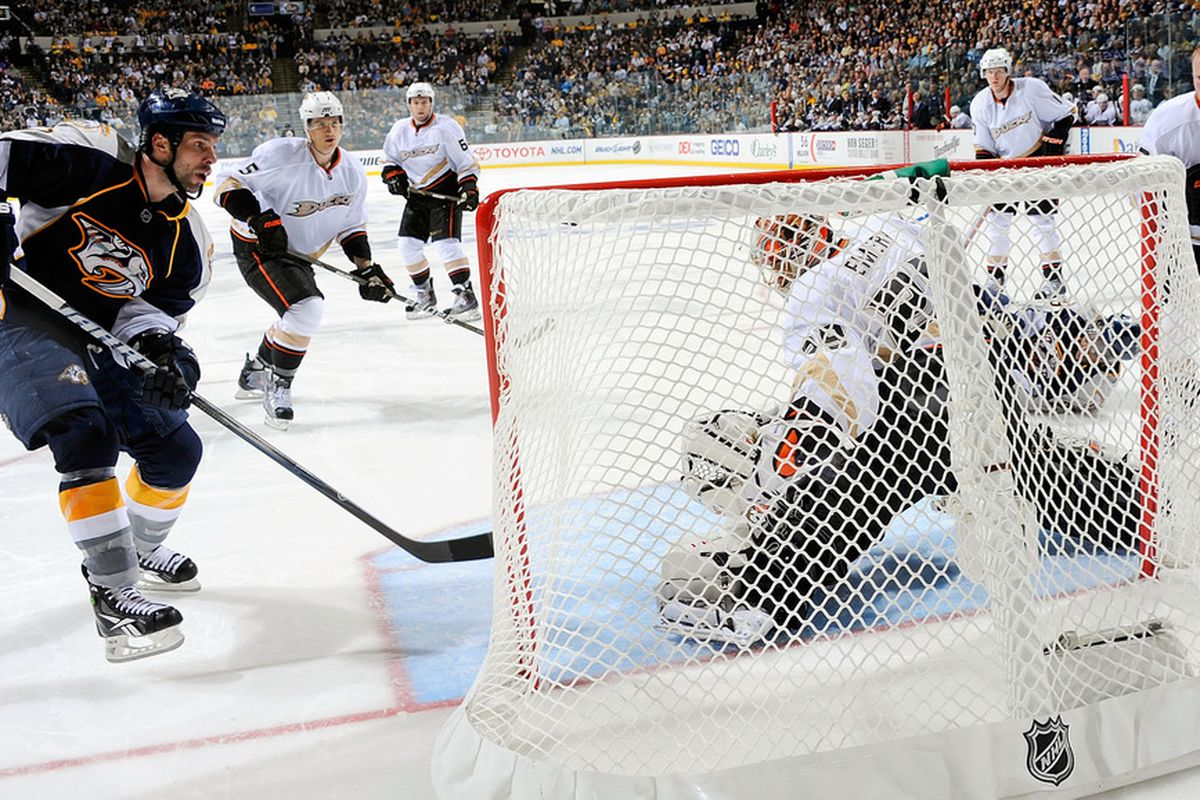 There's a reason why Joel Ward isn't standing up in this picture, he had just been slew-footed by Todd Marchant (without helmet, at right).