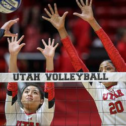 Utah setter Bailey Choy (8) and middle blocker Tawnee Luafalemana (20) attempt a block during the first round of the NCAA tournament as the University of Utah hosts Cleveland State at the Huntsman Center in Salt Lake on Thursday, Nov. 30, 2017.