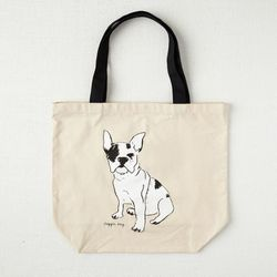 """Carrying lunch, gym clothes, or maybe even an office dog's snacks? They'll love the <b>West Elm</b> Frenchie Market Tote Bag, <a href=""""http://www.westelm.com/products/mrk-market-tote-bag-frenchie-d1716/"""">$18</a>"""