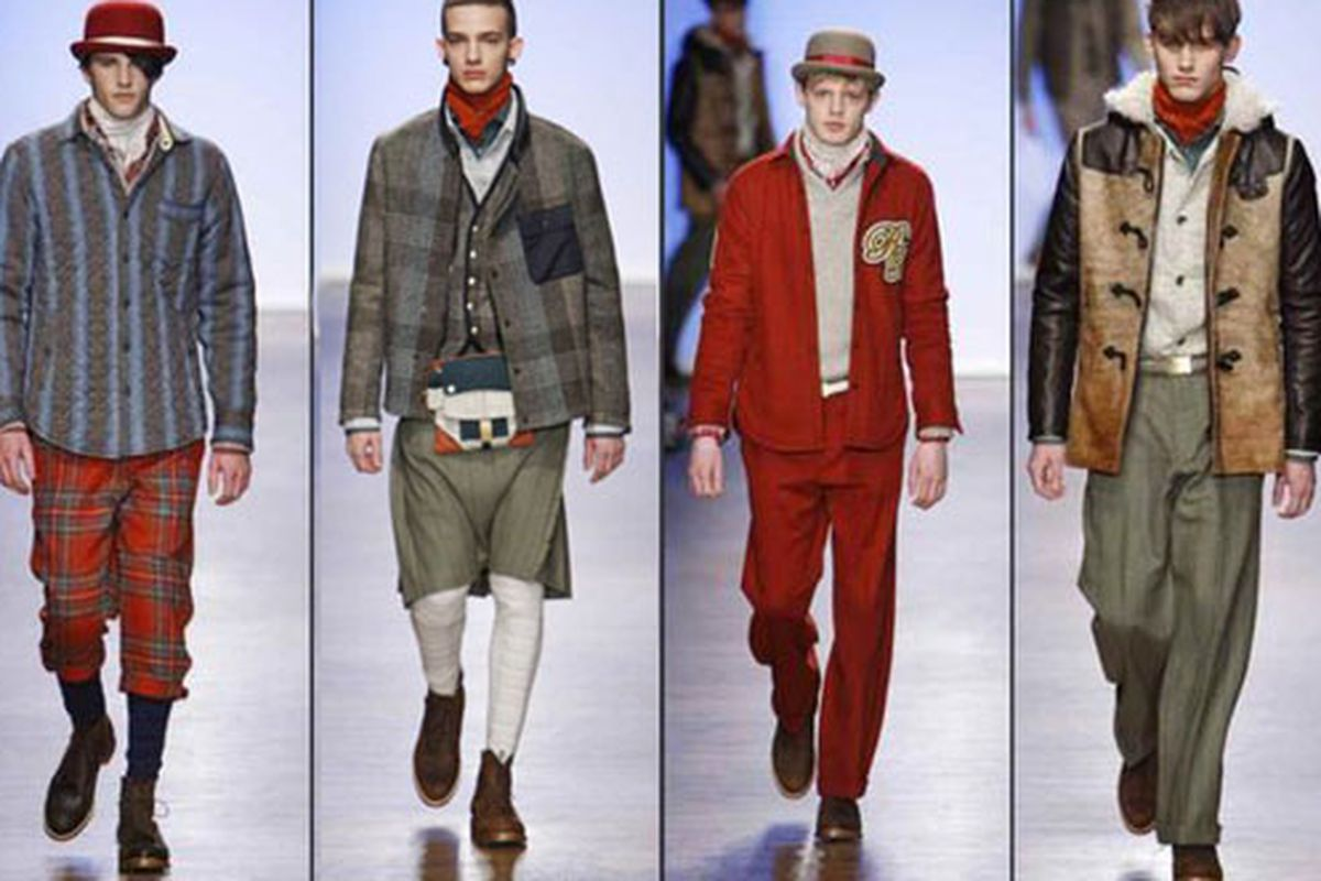 """The bold colors and patterns at Rag &amp; Bone are definitely part of a bigger trend. Let's hope the questionable accessories are not. Image via <a href=""""http://latimesblogs.latimes.com/alltherage/2011/02/nyfw-rag-bone-aw11-menswear-.html"""">All the R"""