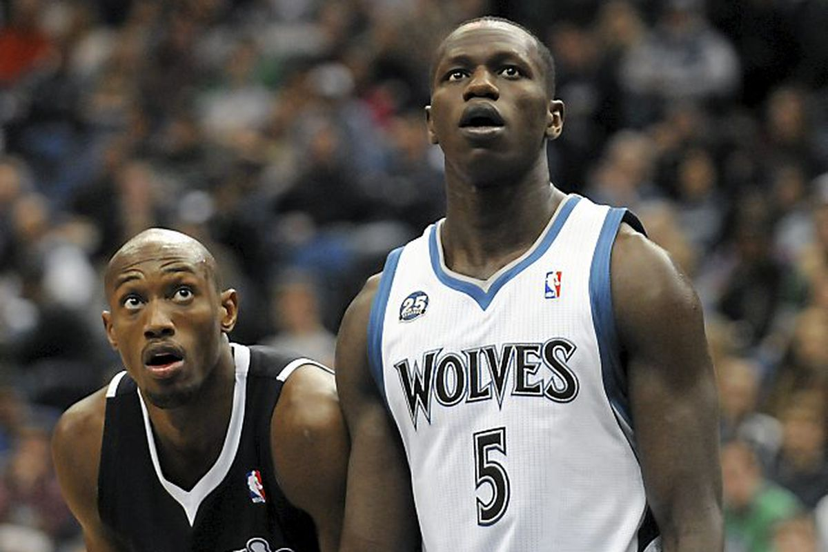 The Timberwolves Gorgui Dieng started at center for the Wolves, as Minnesota played the Sacramento Kings at Target Center in Minneapolis on Sunday, March 16, 2014. At left is Sacramento's Travis Outlaw. (Pioneer Press: Scott Takushi)