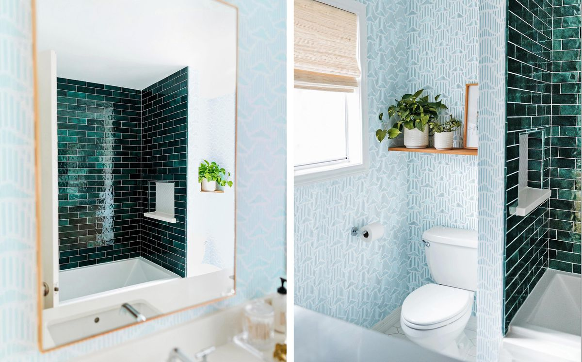 Spring 2021, Before & After Bath: Same Space, Fresh Look, shower seen in the mirror, wallpaper, toilet