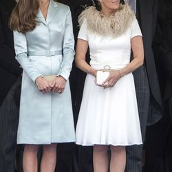 Watching the annual Order of the Garter service on June 16th, 2014 in a Christopher Kane coatdress.