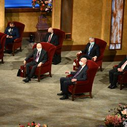 Members of the First Presidency and Quorum of the Twelve Apostles are seen before the Saturday morning session of The Church of Jesus Christ of Latter-day Saints' 191st Annual General Conference on April 3, 2021.