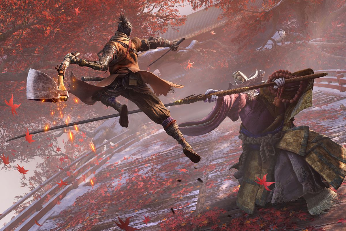 a warrior with an ax leaps at an enemy holding a long pike in Sekiro: Shadows Die Twice