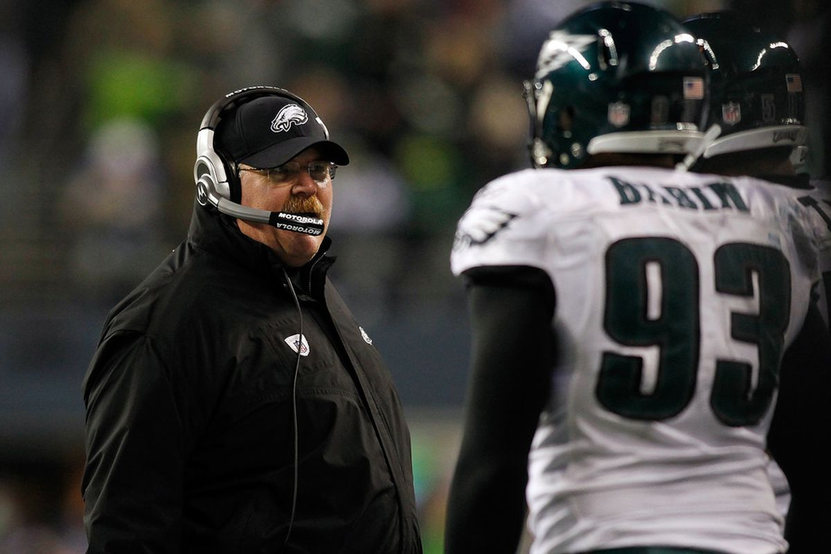 SEATTLE - DECEMBER 01:  Head Coach Andy Reid of the Philadelphia Eagles walks the sidelines against the Seattle Seahawks on December 1, 2011 at CenturyLink Field in Seattle, Washington.  (Photo by Jonathan Ferrey/Getty Images)