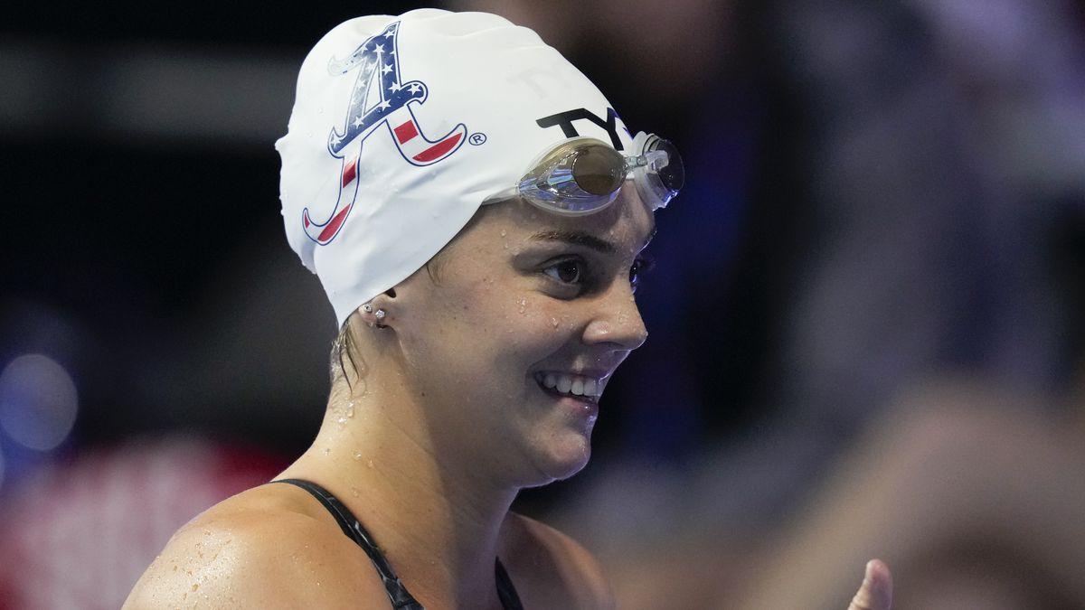 Former Cottonwood High swimmer Rhyan White shows joy after winning a heat at the 2021 U.S. Olympic Swim Trials in Nebraska.