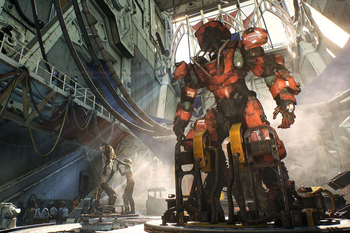 a hangar with a giant mech in Anthem