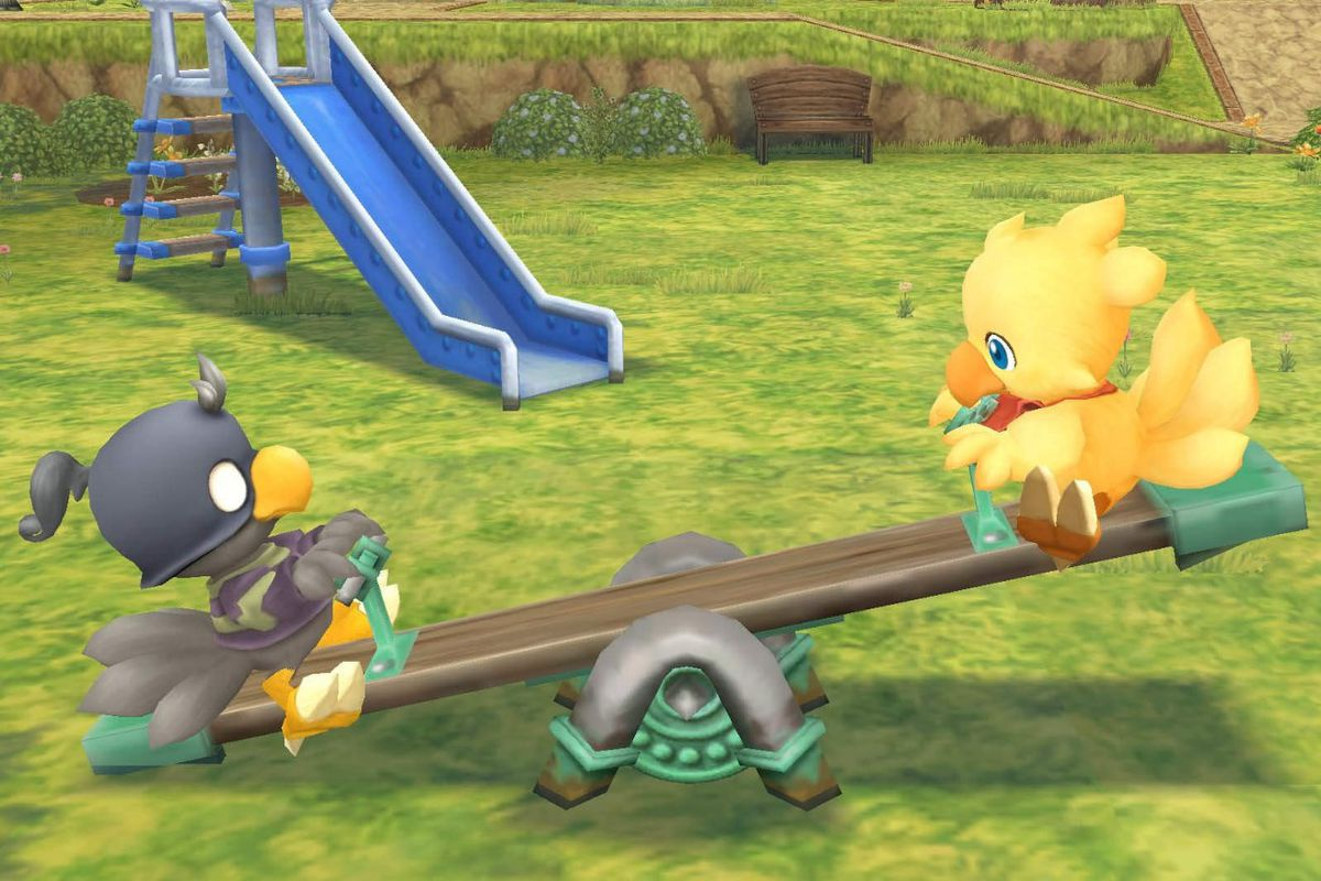 Two chocobos ride on a see-saw in Chocobo Mystery Dungeon Every Buddy!