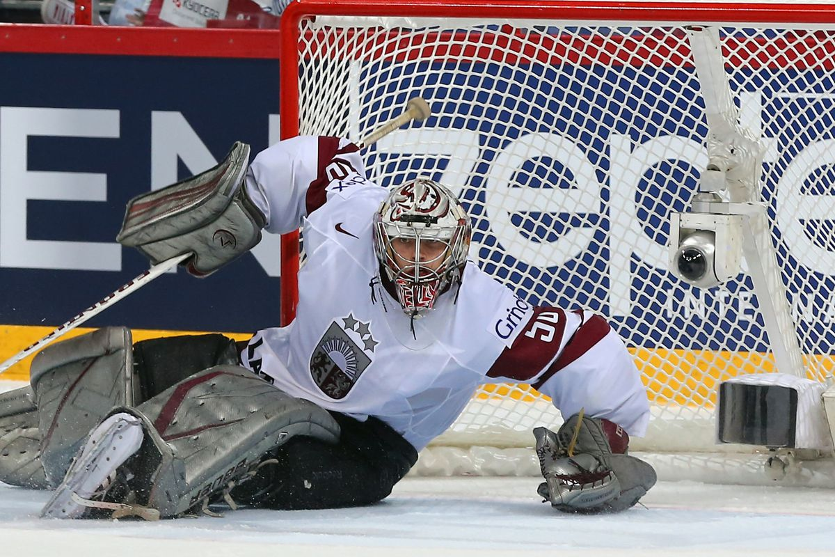 Kristers Gudlevskis in action for Latvia at this year's IIHF World Championships in Finland and Sweden.
