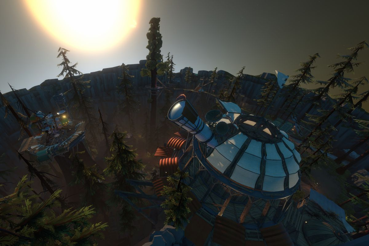 an overhead shot of the planet Timber Hearth, with a giant telescope in a forest and the sun just over the horizon, in Outer Wilds