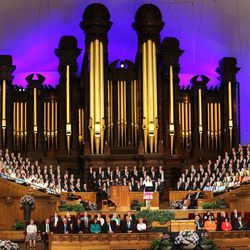 The Worldwide Devotional for Young Adults waits for the broadcast to begin from the Tabernacle on Temple Square in Salt Lake City Sunday, May 1, 2016.