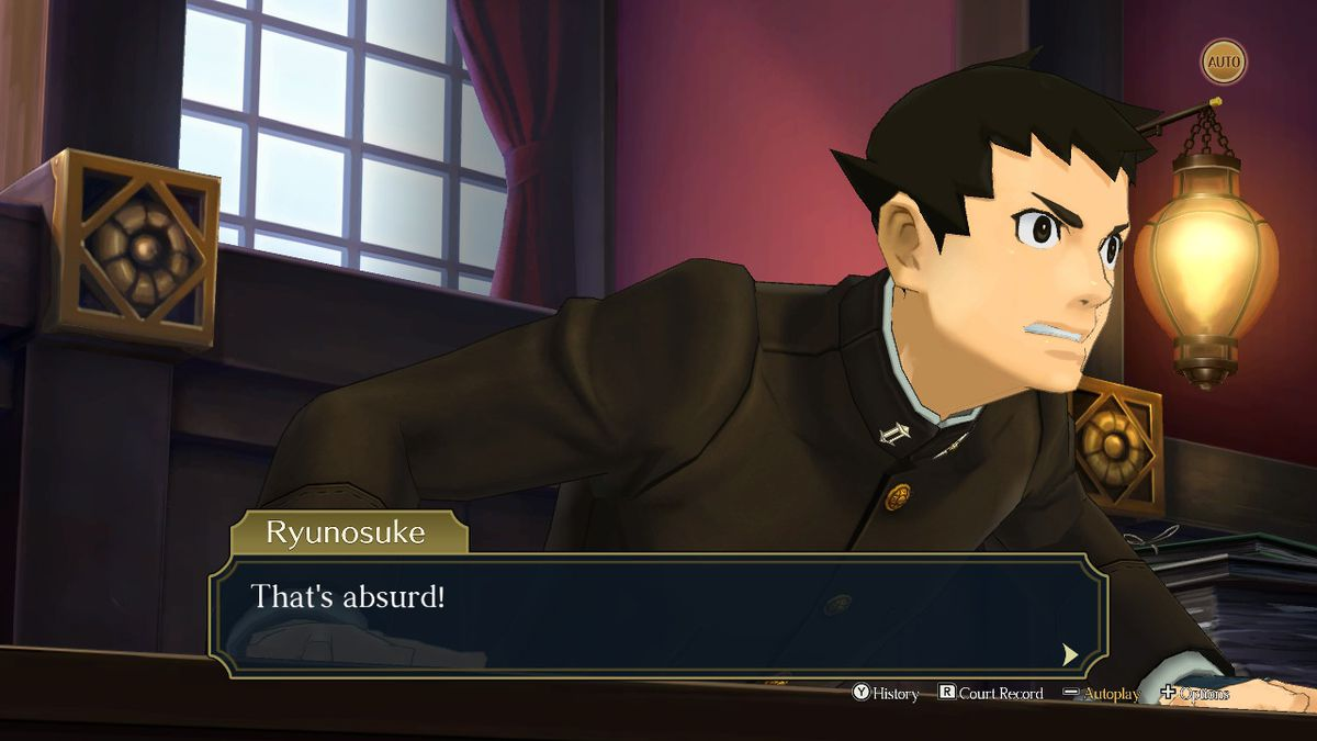 """Ryunosuke, the protagonist of The Great Ace Attorney Chronicles, exclaims """"That's absurd!"""" during a courtroom scene"""