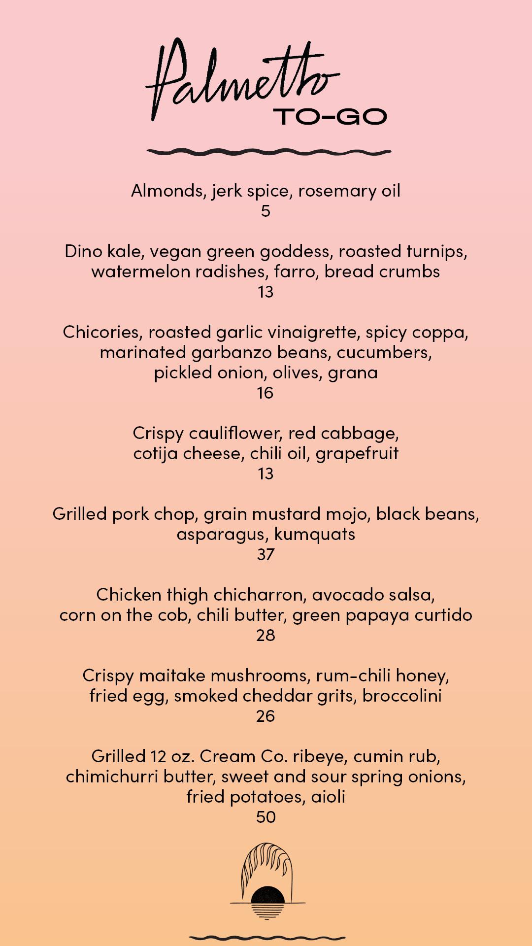 Palmetto takeout menu