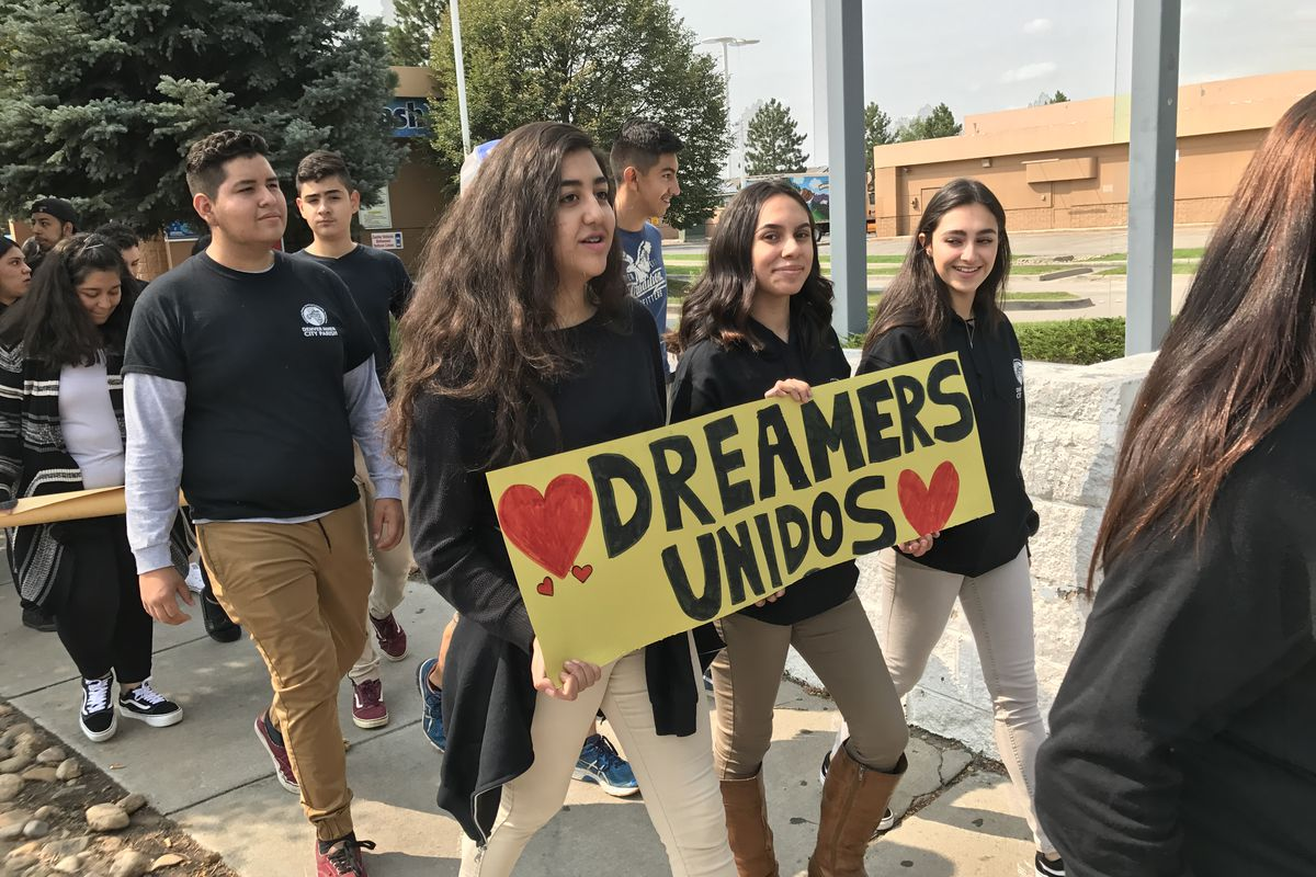 Students in Denver protest President Trump's decision to end DACA in September 2017.