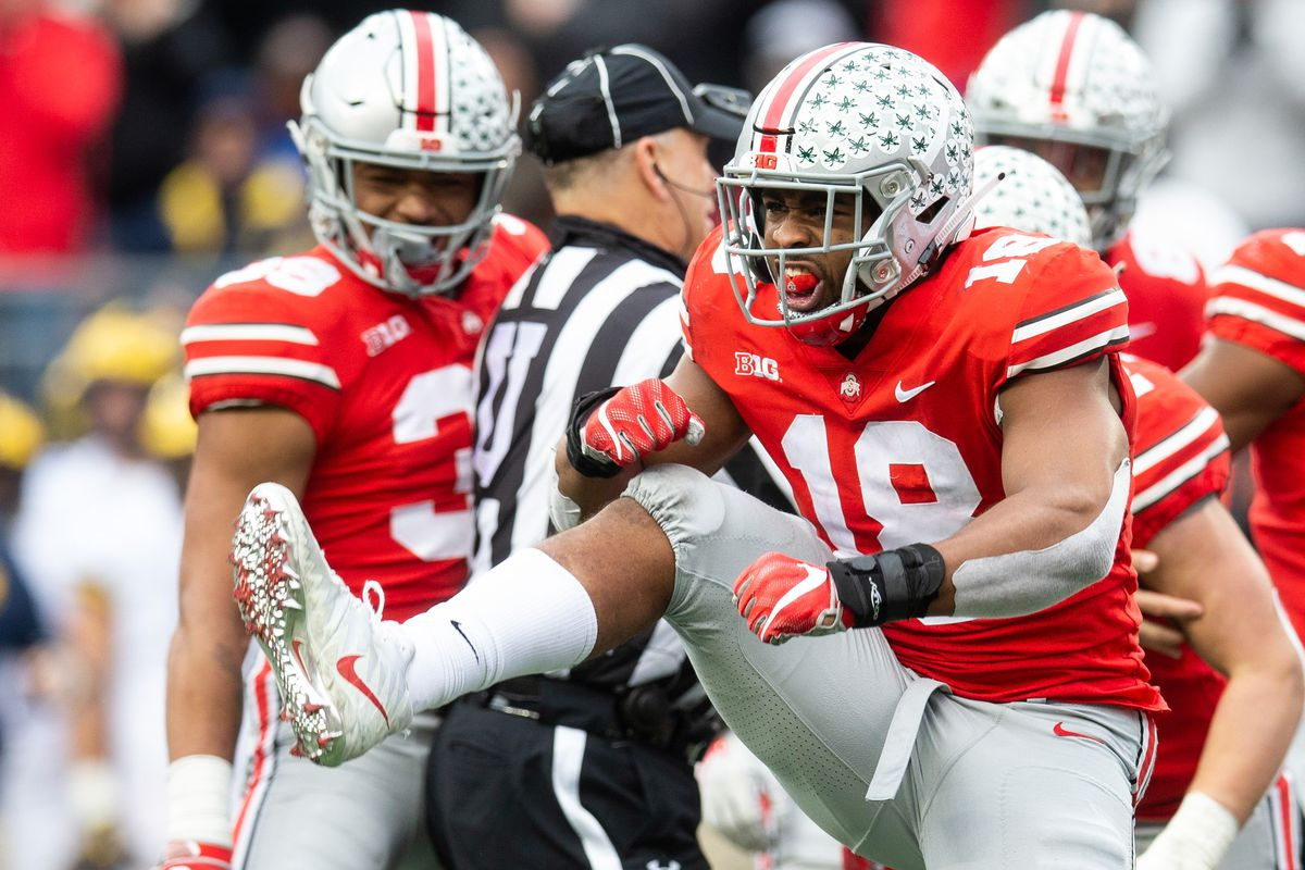 Ohio State defensive end Jonathon Cooper has potential high ankle sprain