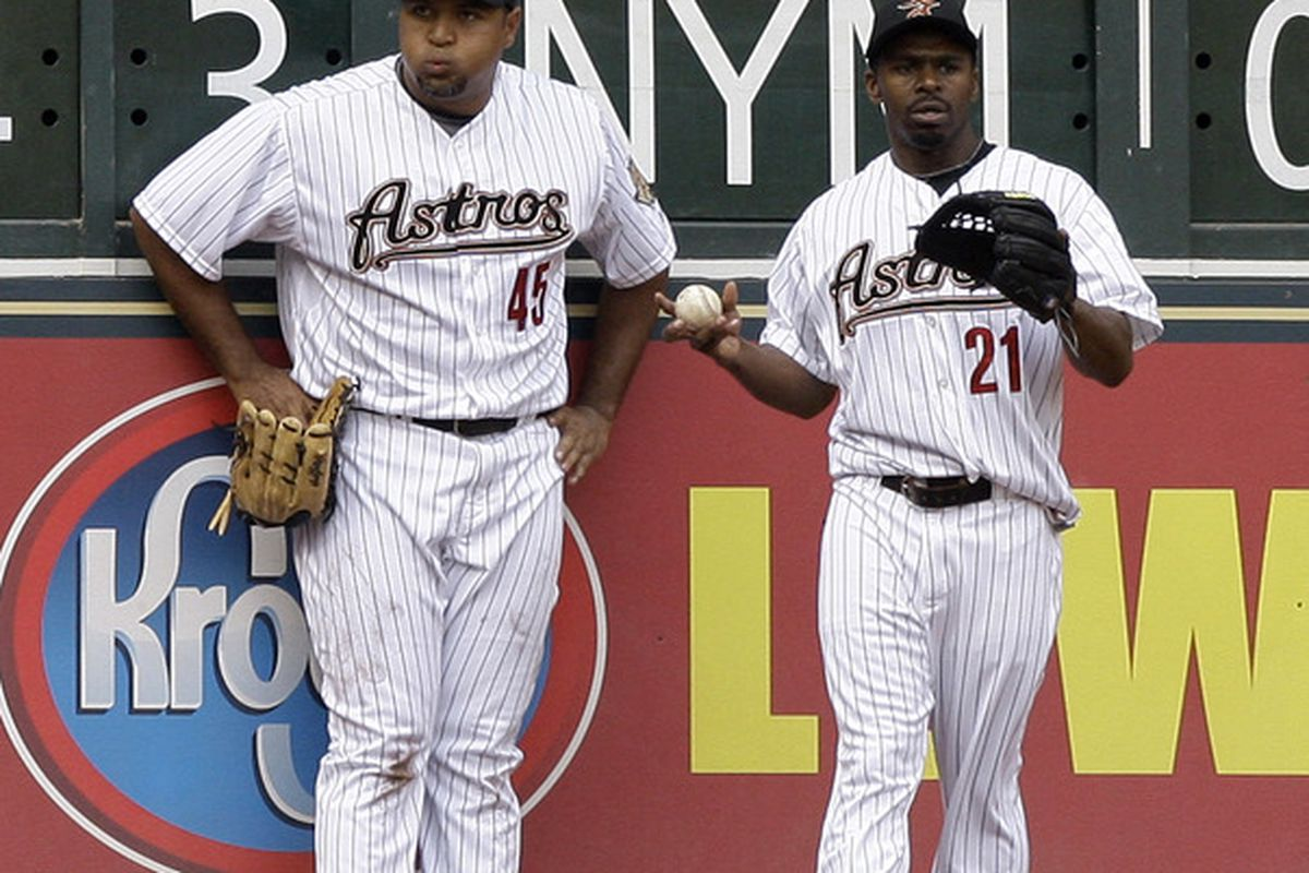 It has been a tough week for the Astros - Carlos Lee and Michael Bourn pictured (Photo by Bob Levey/Getty Images)