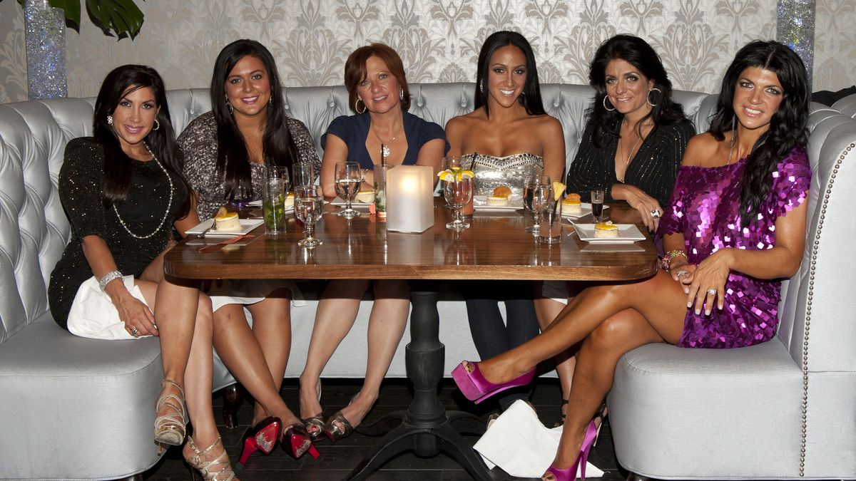 Women of the Real Housewives of New Jersey at a Posche fashion show. From right: Jacqueline Laurita, Lauren Manzo, Caroline Manzo, Melissa Gorga, Kathy Wakile and Teresa Giudice.
