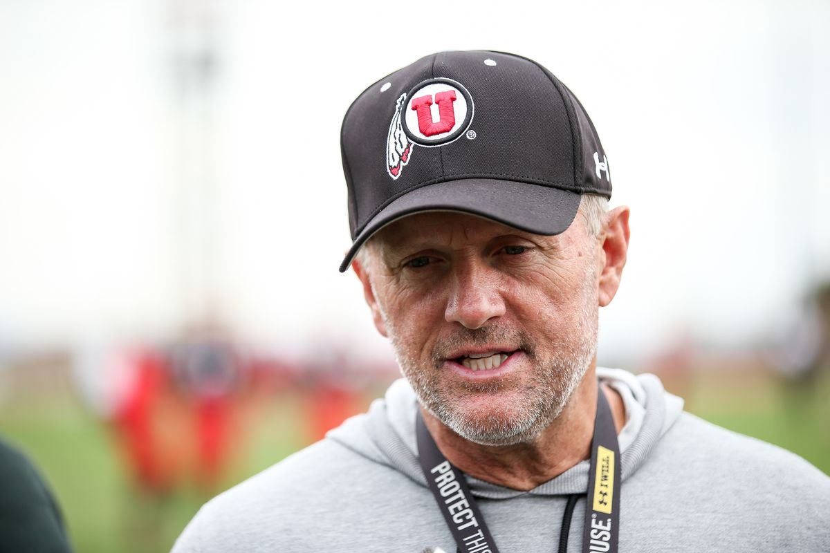 Head coach Kyle Whittingham talks to reporters during a University of Utah football practice at the Eccles Football Center in Salt Lake City on Tuesday, March 26, 2019.