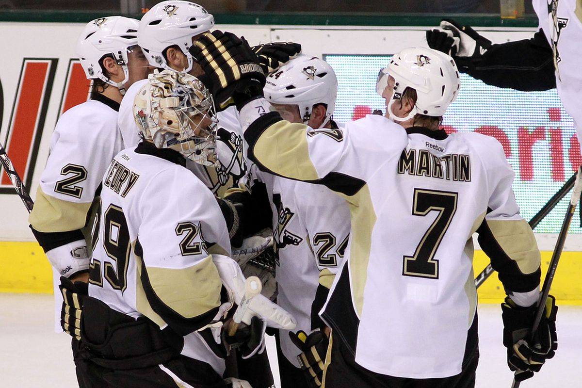 DALLAS, TX - FEBRUARY 29:  Marc-Andre Fleury #29 of the Pittsburgh Penguins celebrates an overtime shootout win against the Dallas Stars at American Airlines Center on February 29, 2012 in Dallas, Texas.  (Photo by Ronald Martinez/Getty Images)