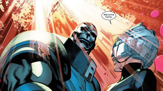 Professor Xavier and Apocalypse shake hands on Krakoan soil in House of X #5, Marvel Comics (2019).