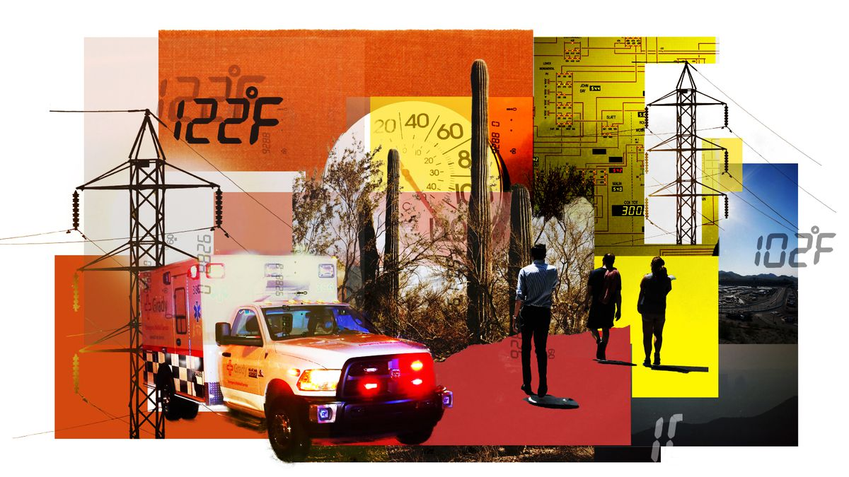 An illustration showing displays with high temperatures, and images of people walking in a desert environment.