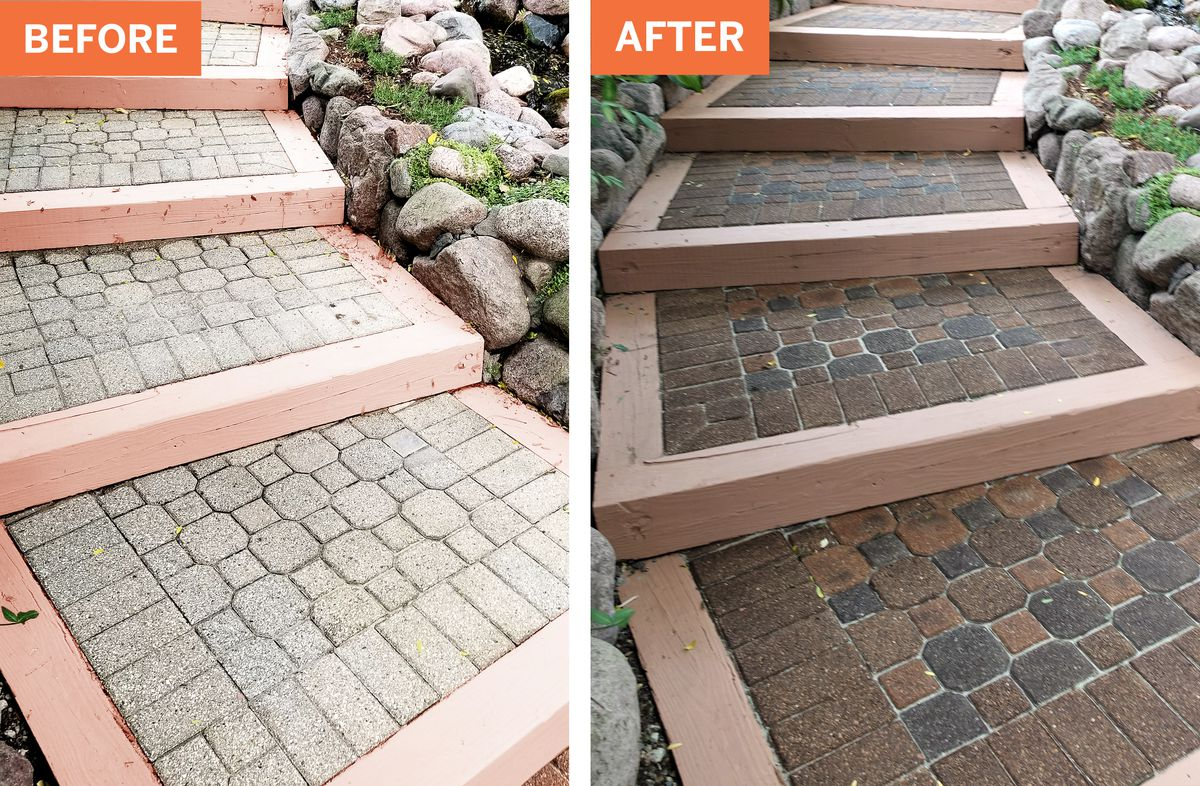 concrete pavers before and after stain