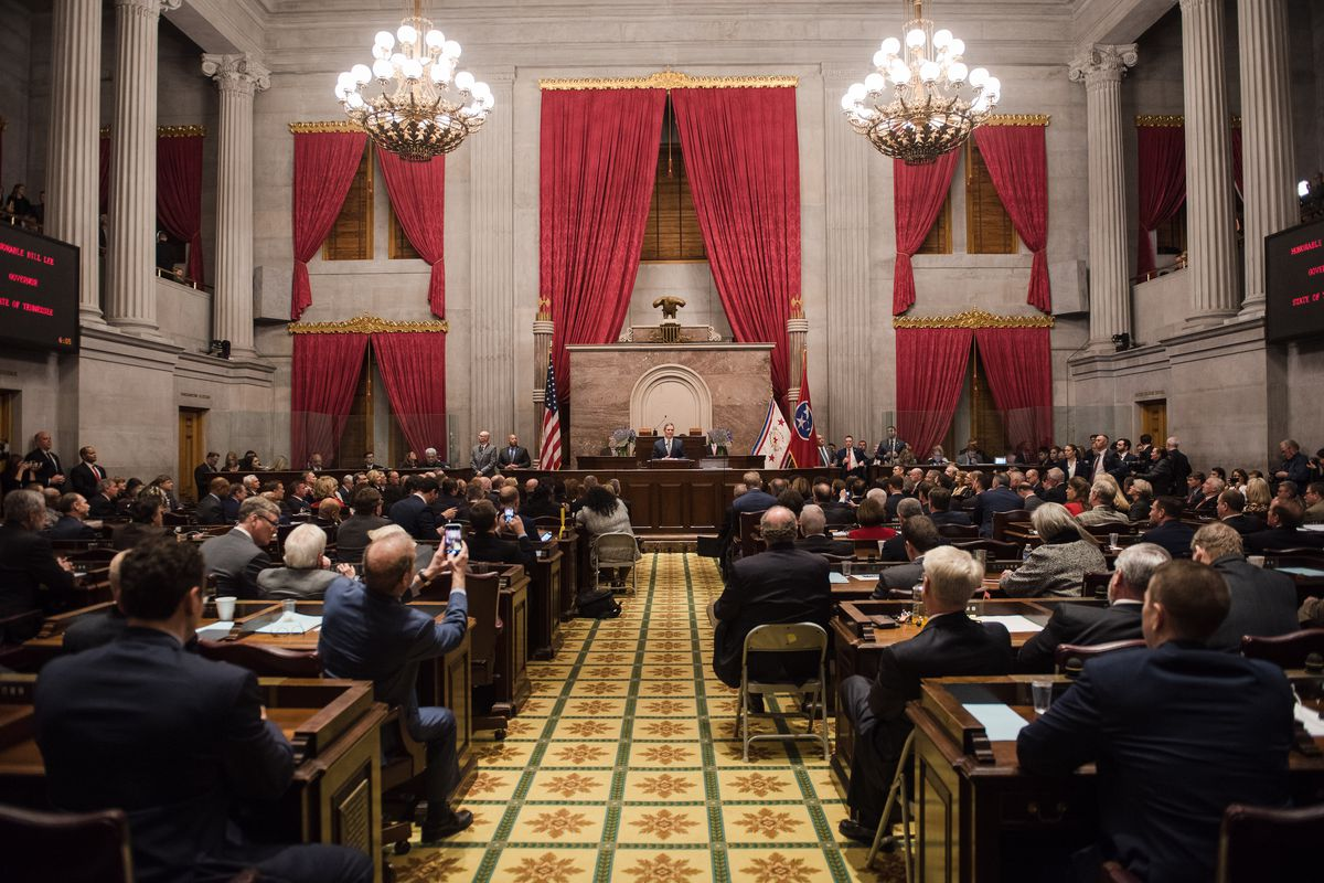 Gov. Bill Lee delivers his State of the State address March 4 before a joint session of the Tennessee General Assembly at the state Capitol in Nashville.