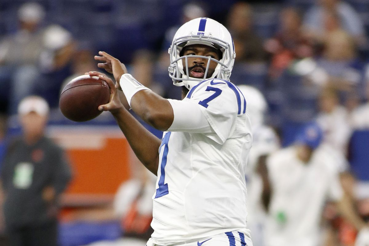 Indianapolis Colts quarterback Jacoby Brissett throws a pass before the preseason game against the Cleveland Browns at Lucas Oil Stadium on August 17, 2019 in Indianapolis, Indiana.