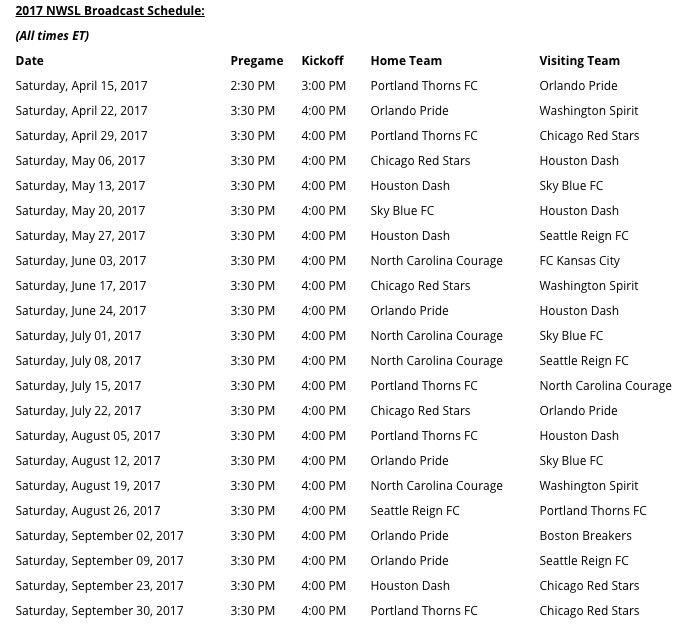 2017 NWSL Broadcast Schedule
