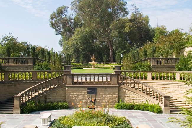 Staircases and gardens at Greystone Mansion in Beverly Hills.