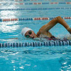 Evanston's Sam Rhodes works on her stroke during practice on August 19, 2020.