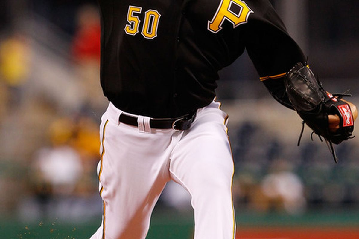 PITTSBURGH - APRIL 26:  Charlie Morton #50 of the Pittsburgh Pirates pitches against the San Francisco Giants during the game on April 26, 2011 at PNC Park in Pittsburgh, Pennsylvania.  (Photo by Jared Wickerham/Getty Images)