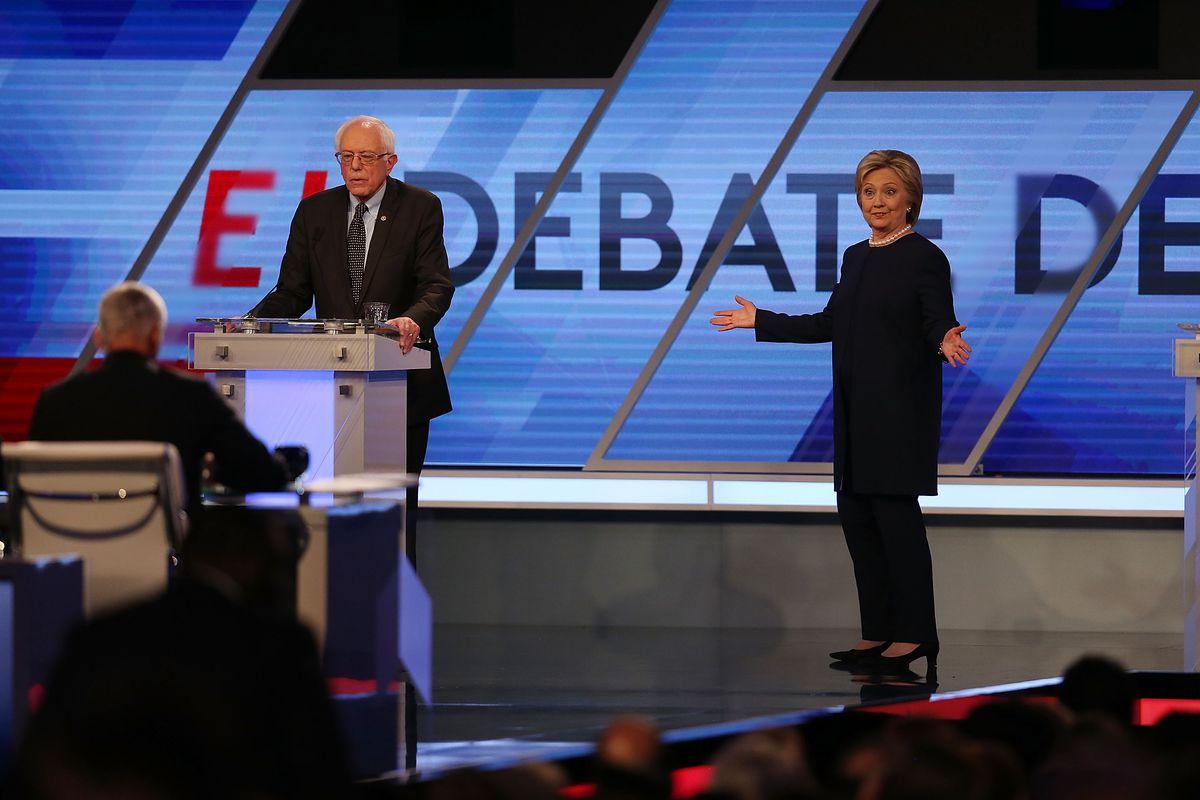 Bernie Sanders and Hillary Clinton at Univision's Democratic debate.
