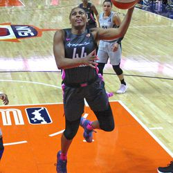 The Las Vegas Aces take on the Connecticut Sun in a WNBA game at Mohegan Sun Arena in Uncasville, CT on August 5, 2018.