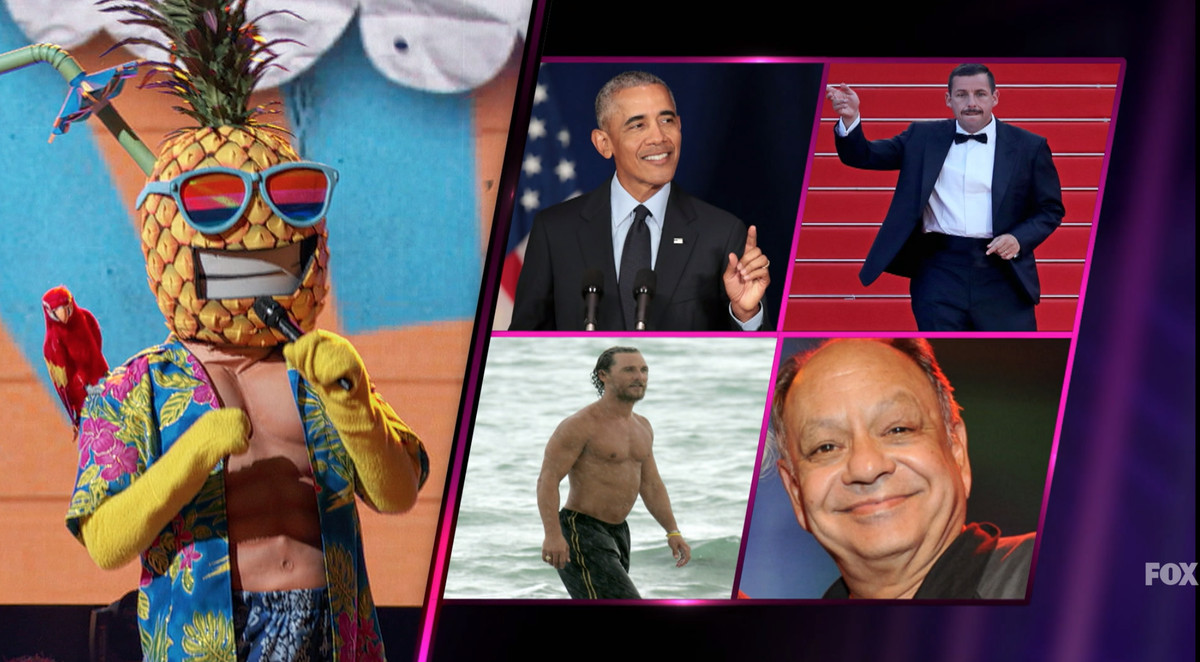 Image of the pineapple-masked performer with stills of Barack Obama and other potential celebrities under the mask