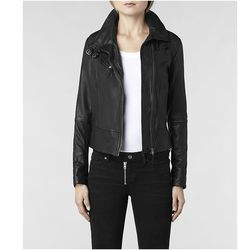 """<span class=""""credit""""><a href=""""http://www.us.allsaints.com/women/leathers/allsaints-belvedere-leather-jacket/?colour=5&category=25"""">Belvedere Leather Jacket</a>, $490</span> <br></br> <b><a href=""""http://www.us.allsaints.com/"""">AllSaints</a>:</b> Another """""""