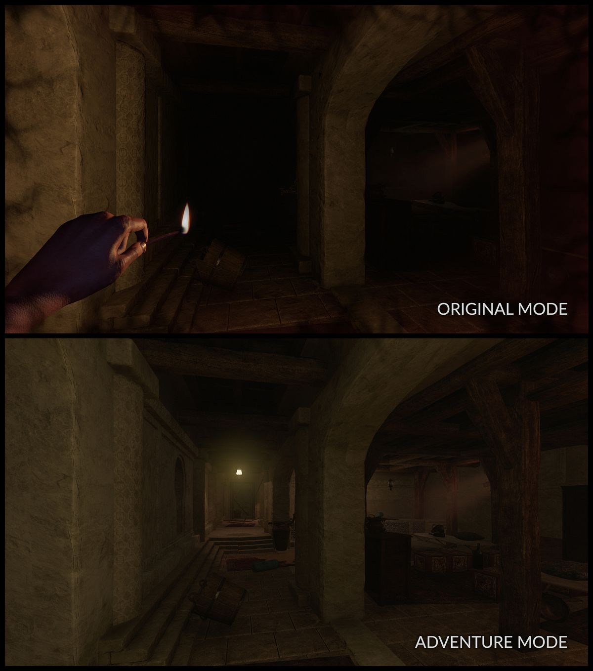 Amnesia: Rebirth Adventure mode comparison shot, shows extra light to a dark level