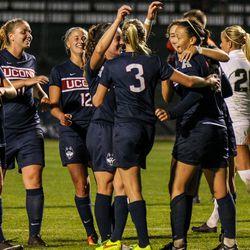 UConn women's soccer celebrates Stephanie Ribeiro's goal.