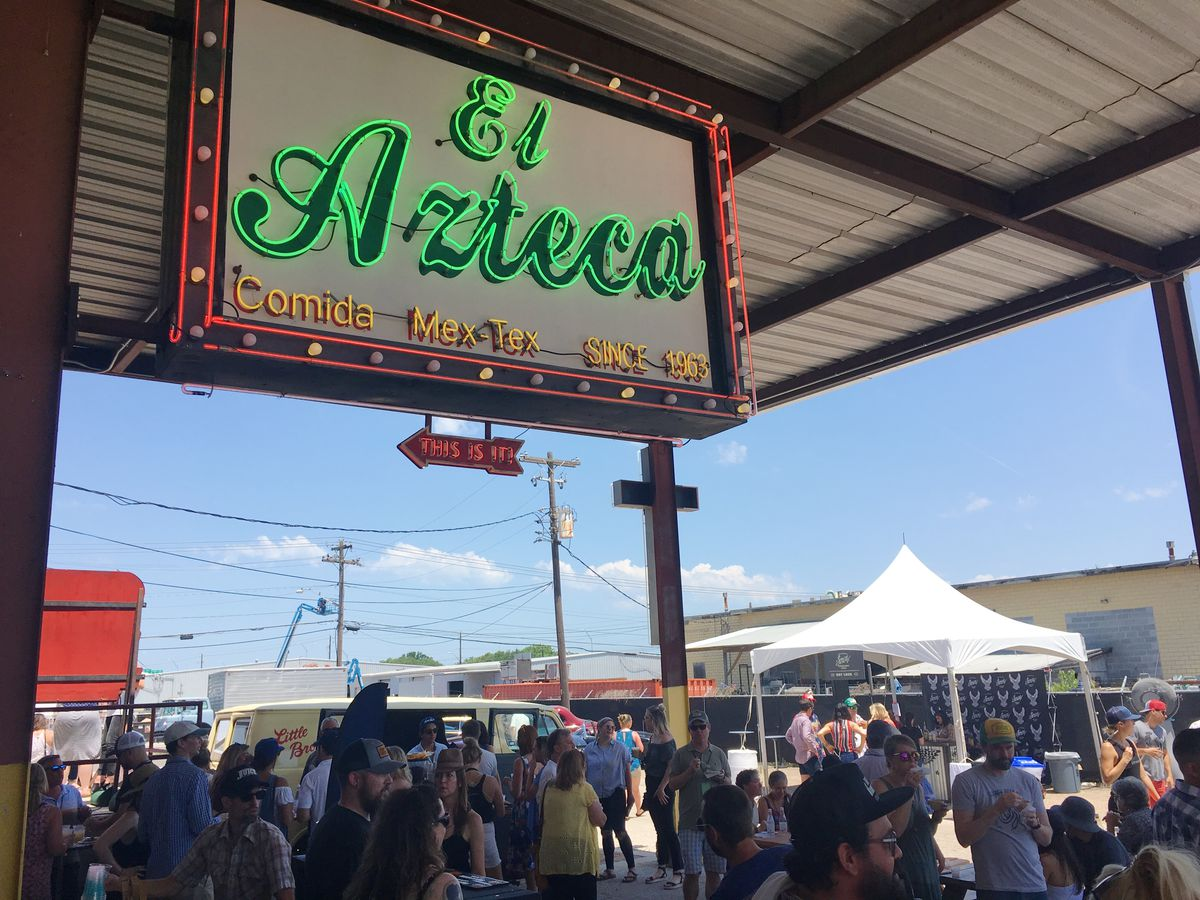 The signage for the now-closed El Azteca at Coupe de Grille