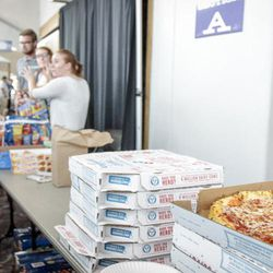 Food, water and snacks at the Dee Events Center in South Ogden on Tuesday, Sept. 5, 2017.