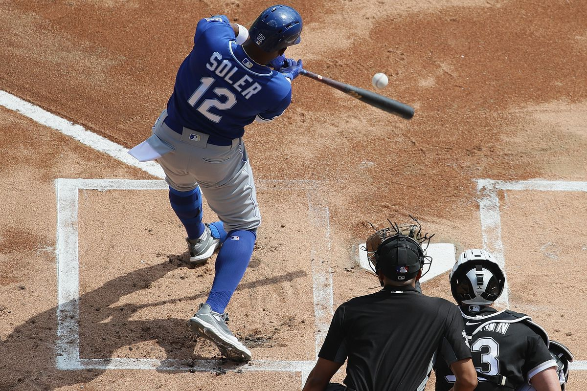 Jorge Soler #12 of the Kansas City Royals hits a solo home run in the 1st inning against the Chicago White Sox at Guaranteed Rate Field on September 12, 2019 in Chicago, Illinois.