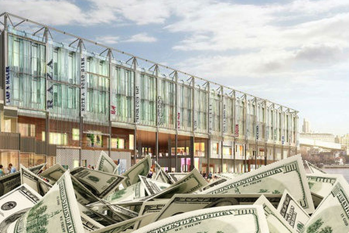 """A Pier 17 rendering, and a pile of money via <a href=""""http://www.shutterstock.com/cat.mhtml?lang=en&amp;search_source=search_form&amp;version=llv1&amp;anyorall=all&amp;safesearch=1&amp;searchterm=stacks+on+money&amp;search_group=#id=115685188&amp;sr"""