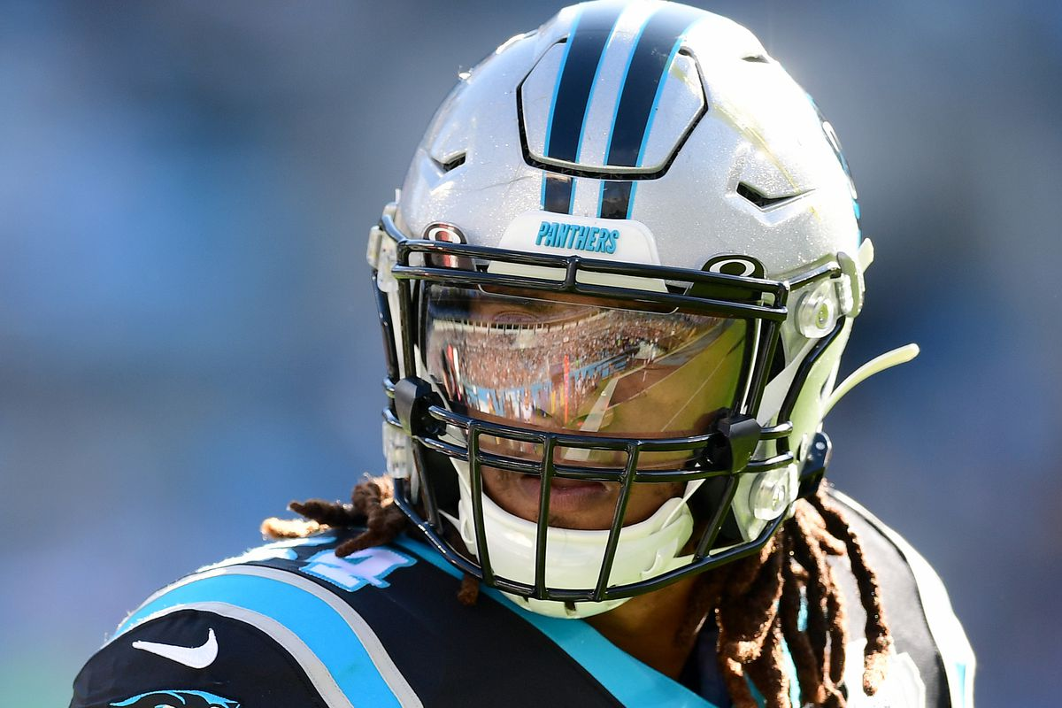 Shaq Thompson of the Carolina Panthers during the first half during their game against Washington at Bank of America Stadium on December 01, 2019 in Charlotte, North Carolina.